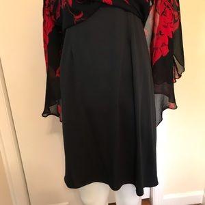 Eva Blue Dresses - Red and Black Handkerchief Hem Dress
